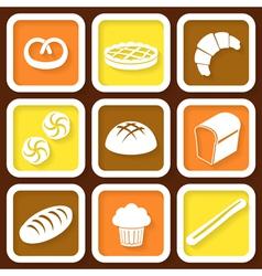 Set of 9 retro icons of fresh bread vector image vector image