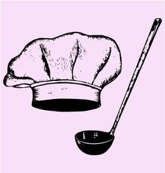 chef hat soup ladle vector image