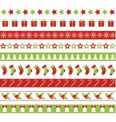 christmas seamless borders vector image vector image