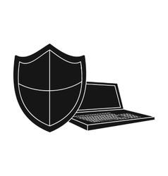 Data security of laptop icon in black style vector image vector image