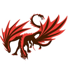 fiery dragon red dragon vector image
