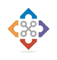Logo Abstract Connection Circle Square Element vector image