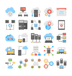 Web hosting and cloud storage flat icons vector