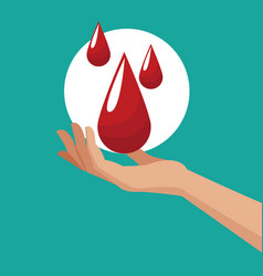 donate blood hand with drops vector image vector image