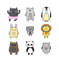 doodle collection with smiling characters set of vector image vector image