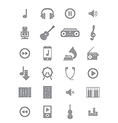 Gray music icons set vector image