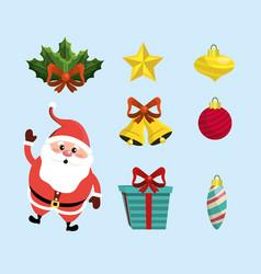 set merry christmas decoration design vector image