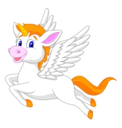 White unicorn horse cartoon vector image vector image