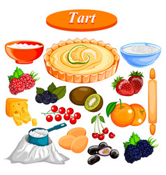 food and spice ingredient for fruit tart vector image vector image
