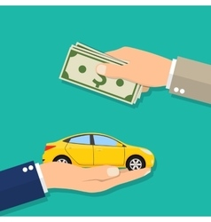 Hand of businessman with money buying a car vector image