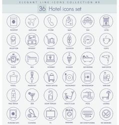 hotel outline icon set Elegant thin line vector image