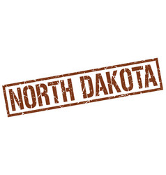 north dakota brown square stamp vector image vector image