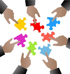 people hand with puzzle pieces vector image