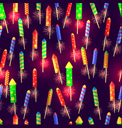 seamless pattern of glossy exploding rockets vector image