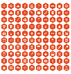 100 laboratory icons hexagon orange vector