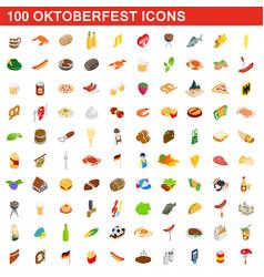 100 oktoberfest icons set isometric 3d style vector image