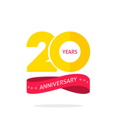20 years anniversary logo template 20th vector