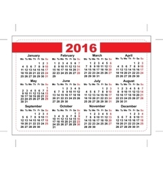 2016 pocket calendar Template grid Horizontal vector image