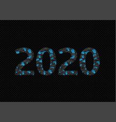 2020 broken blue numbers vector image