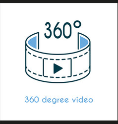 360 degree video flat icon vector image