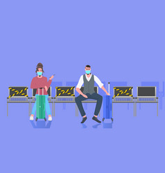Airport terminal passengers with luggage keeping vector