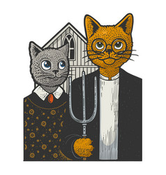 American gothic cats sketch vector