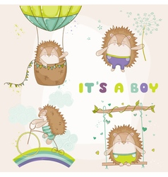 Baby Hedgehog Set - for Baby Shower vector image