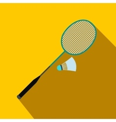 badminton racket and shuttlecock flat icon vector image