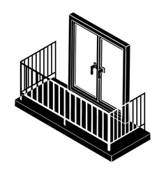 balcony with metal fencing icon simple style vector image