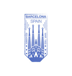 Barcelona arrival ink stamp on passport vector