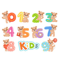 birthday numbers bear party fun invitation vector image