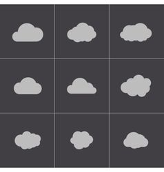 Black cloud icons set vector