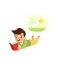 boy lying on his stomach and reading a book kids vector image