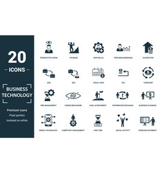 Business technology icon set monochrome sign vector