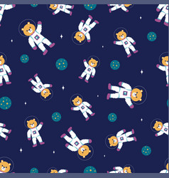 cartoon space seamless pattern with bear vector image
