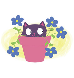 Cat flower vector