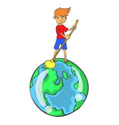 Clean world from environment doodle style vector