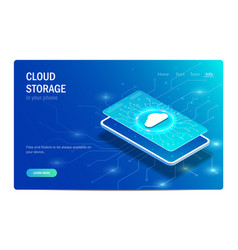 cloud storage in your phone concept glowing vector image