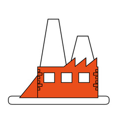 Color silhouette image orange building industrial vector