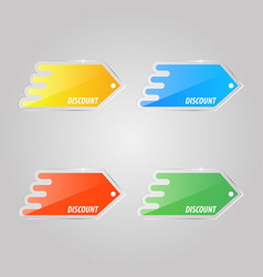 colored glass price tags on a gray background vector image