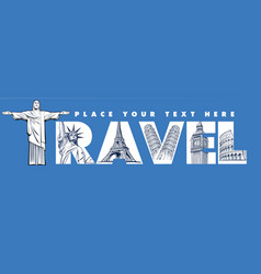 concept with travel famous places vector image