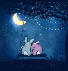 couple cute rabbits hugging under magical tree vector image