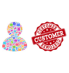 customer composition of mosaic and textured stamp vector image