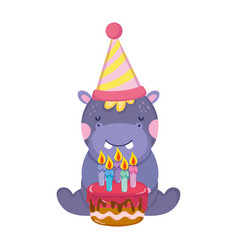Cute and little elephant with party hat and sweet vector