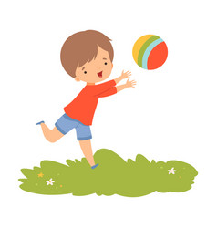 cute boy playing ball preschool kid daily routine vector image