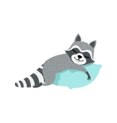 Cute Raccoon Character Sleeping On The Pillow vector