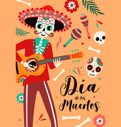 dia de los muertos traditional mexican holiday vector image