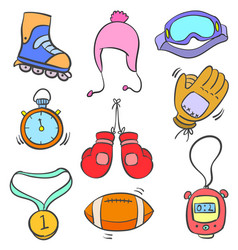 Doodle of sport equipment style collection vector