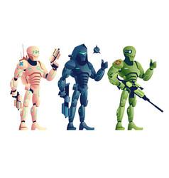 Fantasy cyborg armed warriors cartoon set vector
