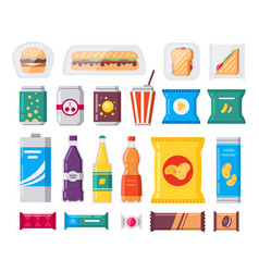Fast food snack and drink pack icons set vector